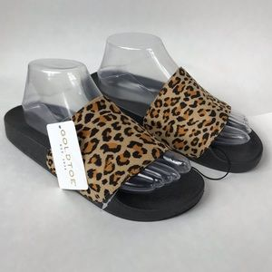 Goldtoe Leopard Cheetah Black Slides NWT Size 9